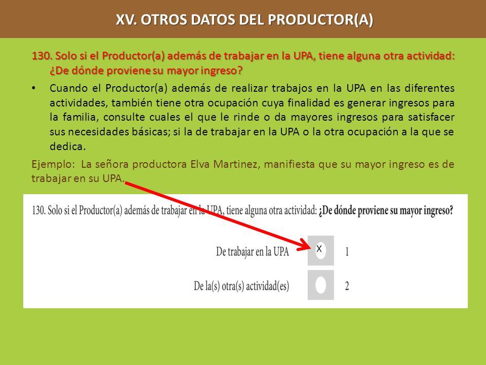 XV. OTROS DATOS DEL PRODUCTOR(A) XV. OTROS DATOS DEL PRODUCTOR(A) 130. Solo si el Productor(a) además de trabajar en la UPA, tiene alguna otra activid