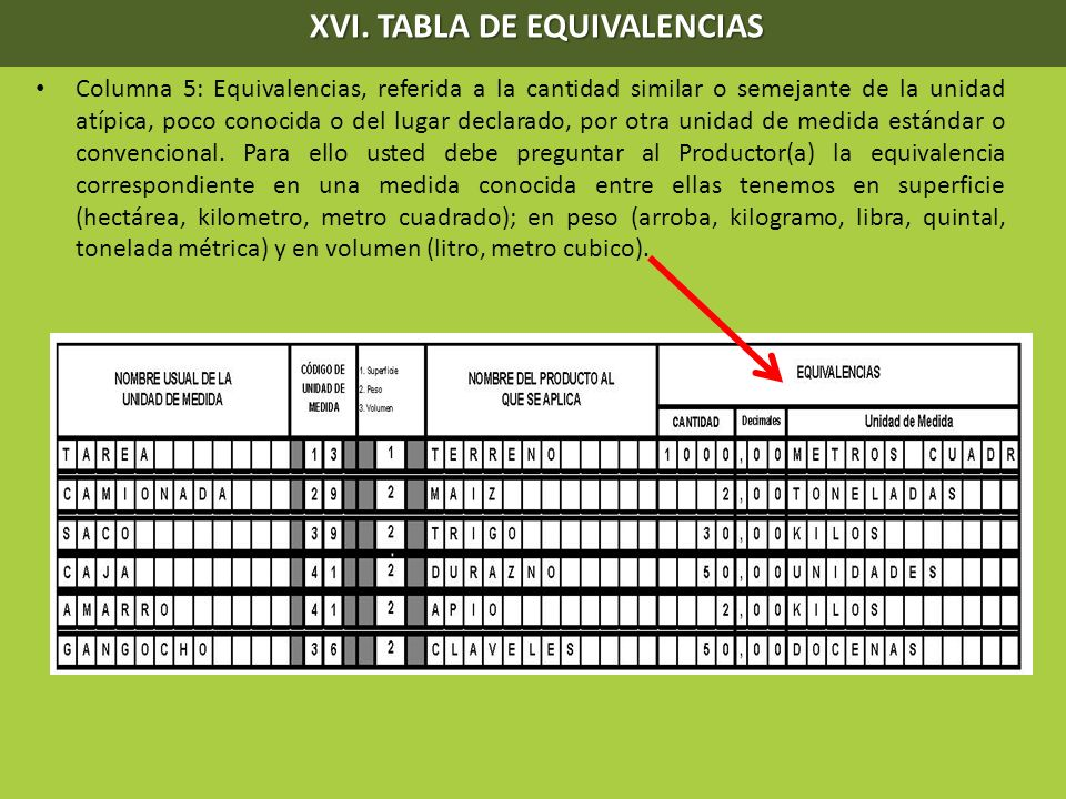 XVI. TABLA DE EQUIVALENCIAS XVI. TABLA DE EQUIVALENCIAS Columna 5: Equivalencias, referida a la cantidad similar o semejante de la unidad atípica, poc