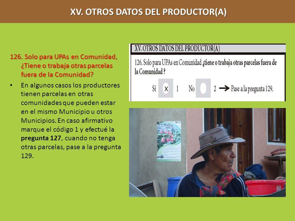 XV. OTROS DATOS DEL PRODUCTOR(A) XV. OTROS DATOS DEL PRODUCTOR(A) 126. Solo para UPAs en Comunidad, ¿Tiene o trabaja otras parcelas fuera de la Comuni