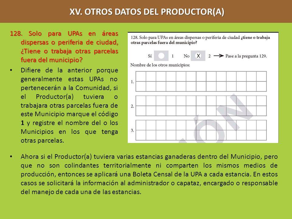 XV. OTROS DATOS DEL PRODUCTOR(A) XV. OTROS DATOS DEL PRODUCTOR(A) 128. Solo para UPAs en áreas dispersas o periferia de ciudad, ¿Tiene o trabaja otras