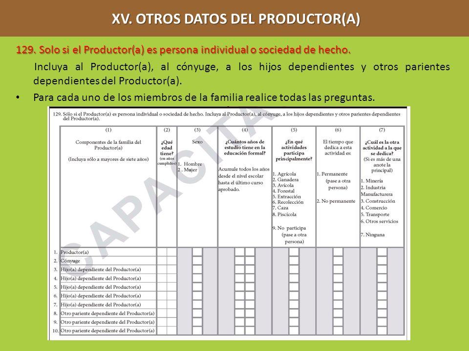 XV. OTROS DATOS DEL PRODUCTOR(A) XV. OTROS DATOS DEL PRODUCTOR(A) 129. Solo si el Productor(a) es persona individual o sociedad de hecho. Incluya al P