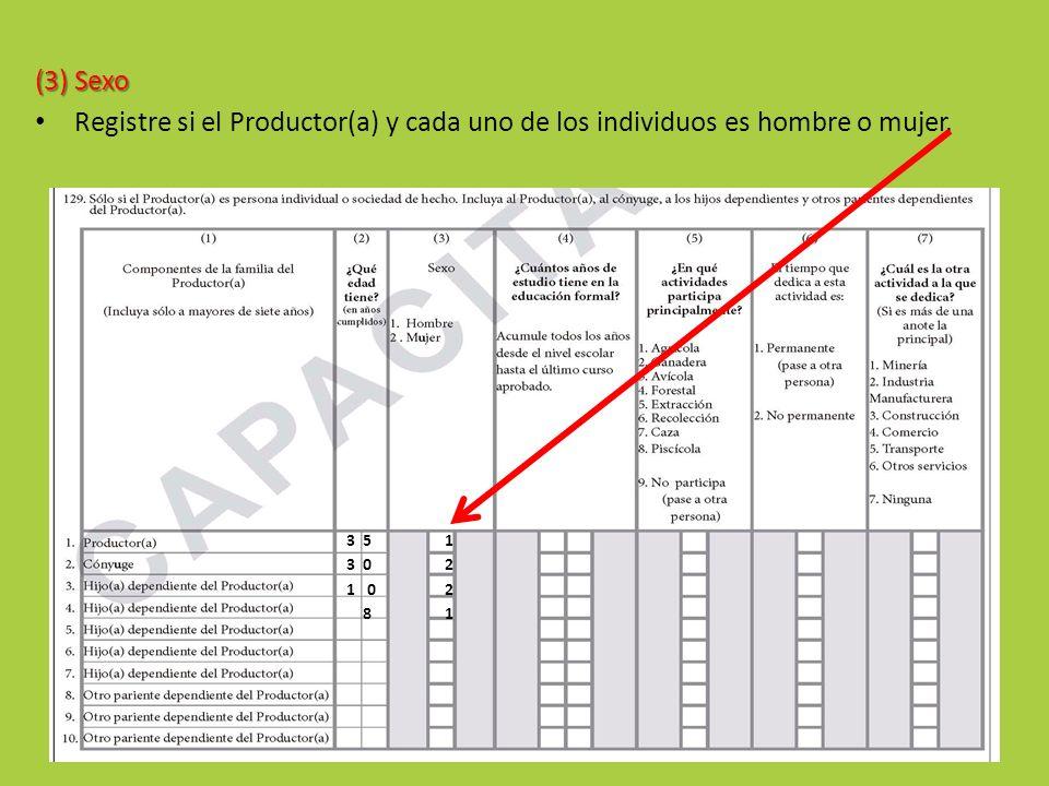 (3) Sexo Registre si el Productor(a) y cada uno de los individuos es hombre o mujer. 3 5 3 0 1 0 8 1 2 2 1