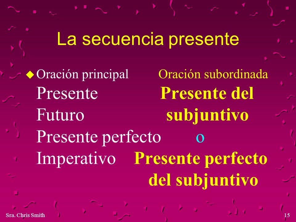 Sra. Chris Smith15 La secuencia presente u Oración principal Oración subordinada Presente Presente del Futuro subjuntivo Presente perfecto o Imperativ