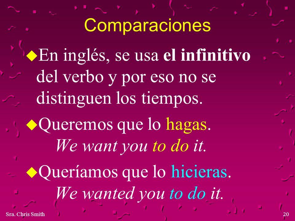 Sra. Chris Smith20 Comparaciones u En inglés, se usa el infinitivo del verbo y por eso no se distinguen los tiempos. u Queremos que lo hagas. We want