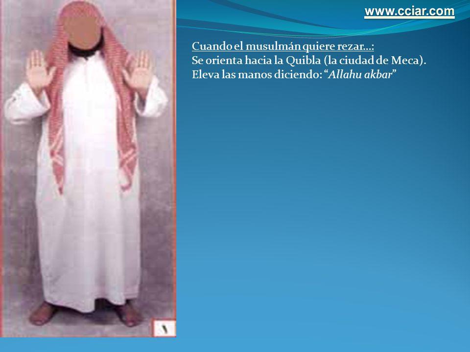 Cuando el musulmán quiere rezar…: Se orienta hacia la Quibla (la ciudad de Meca). Eleva las manos diciendo: Allahu akbar