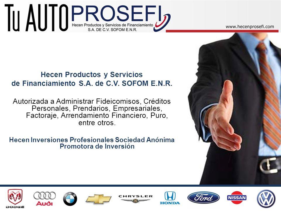 Hecen Productos y Servicios de Financiamiento S.A. de C.V. SOFOM E.N.R. Autorizada a Administrar Fideicomisos, Créditos Personales, Prendarios, Empres