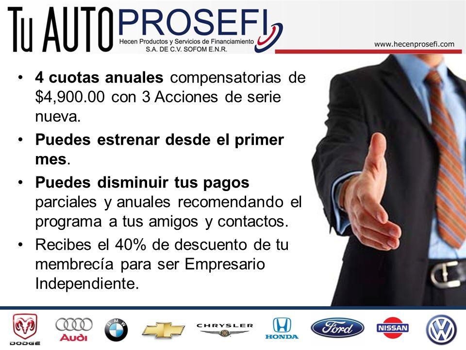 BENEFICIOS ADICIONALES POR ESTRENAR CON TU AUTO PROSEFI si eres Empresario Independiente: Colocas un auto y ganas $800.00 y del 2º en adelante en la misma quincena $1,200.00 que recibes 24 hrs.
