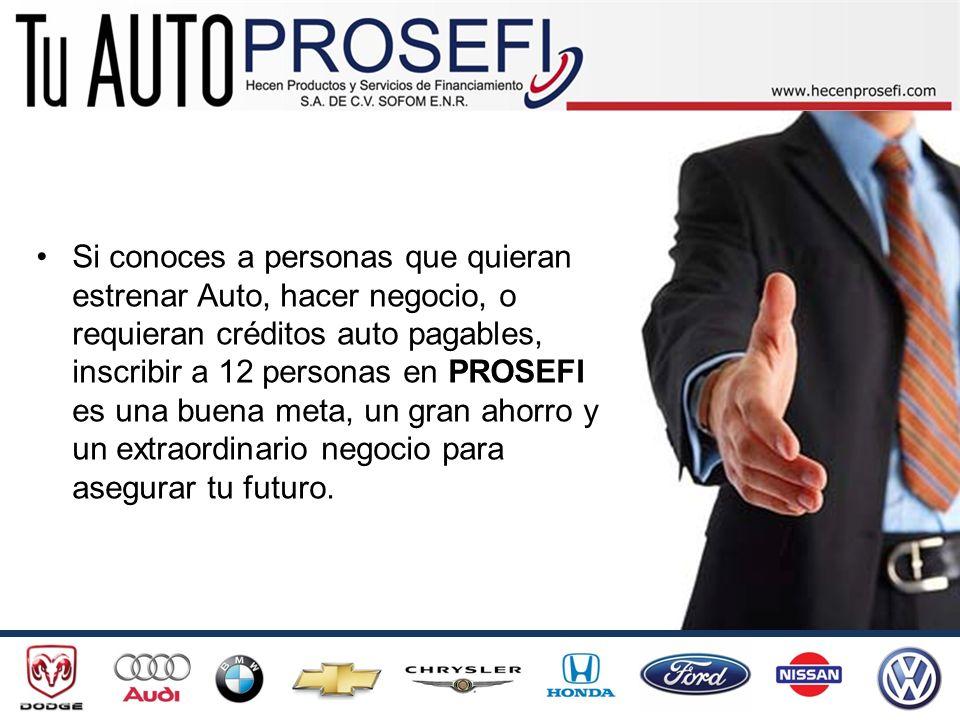 Si conoces a personas que quieran estrenar Auto, hacer negocio, o requieran créditos auto pagables, inscribir a 12 personas en PROSEFI es una buena me