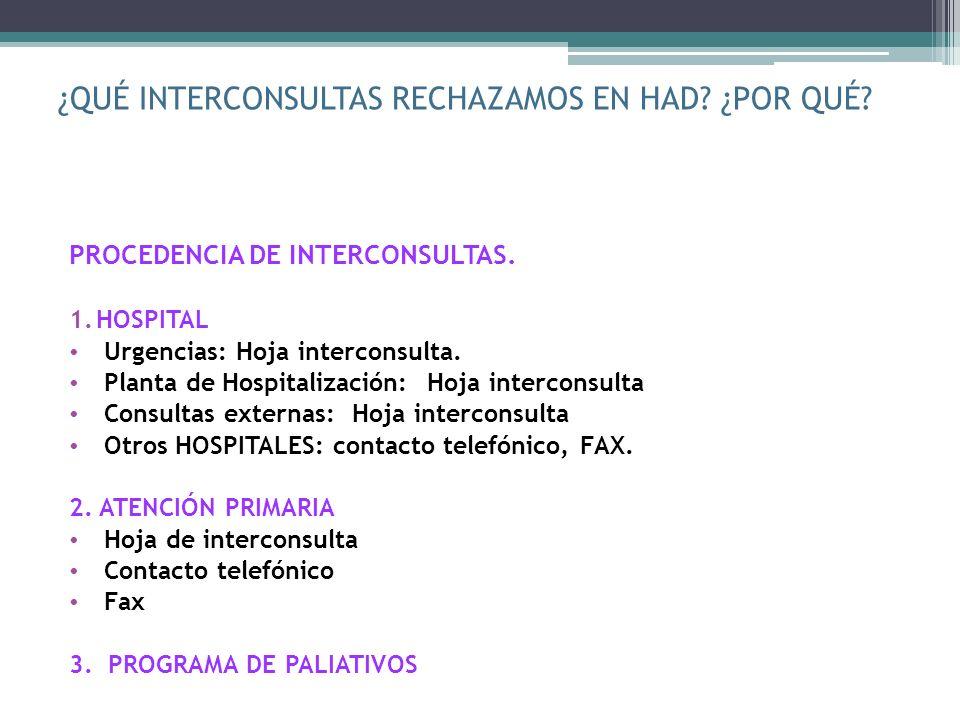 ¿QUÉ INTERCONSULTAS RECHAZAMOS EN HAD? ¿POR QUÉ? PROCEDENCIA DE INTERCONSULTAS. 1.HOSPITAL Urgencias: Hoja interconsulta. Planta de Hospitalización: H