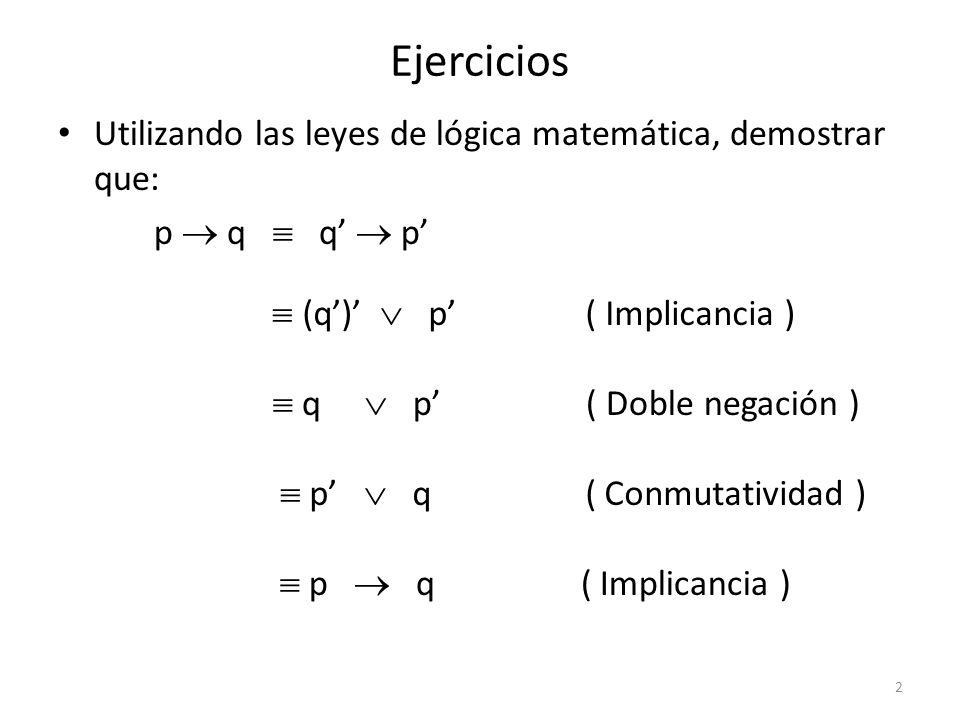 Ejercicios Utilizando las leyes de lógica matemática, demostrar que: ( p q ) r p ( q r ) ( p q ) r ( p q ) r ( Implicancia ) ( p q ) r ( De Morgan ) p ( q r ) ( Asociatividad ) p ( q r ) ( Implicancia ) 3
