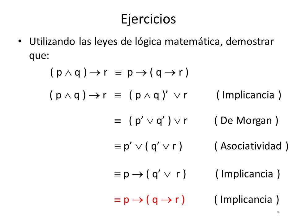 Ejercicios Utilizando las leyes de lógica matemática, demostrar que: p ( q r ) q ( p r ) p ( q r ) p ( q r ) ( Implicancia ) p ( q r ) ( Implicancia ) ( p q ) r ( Asociatividad ) ( q p ) r ( Conmutatividad ) q ( p r ) ( Asociatividad ) q ( p r ) ( Implicancia ) 4