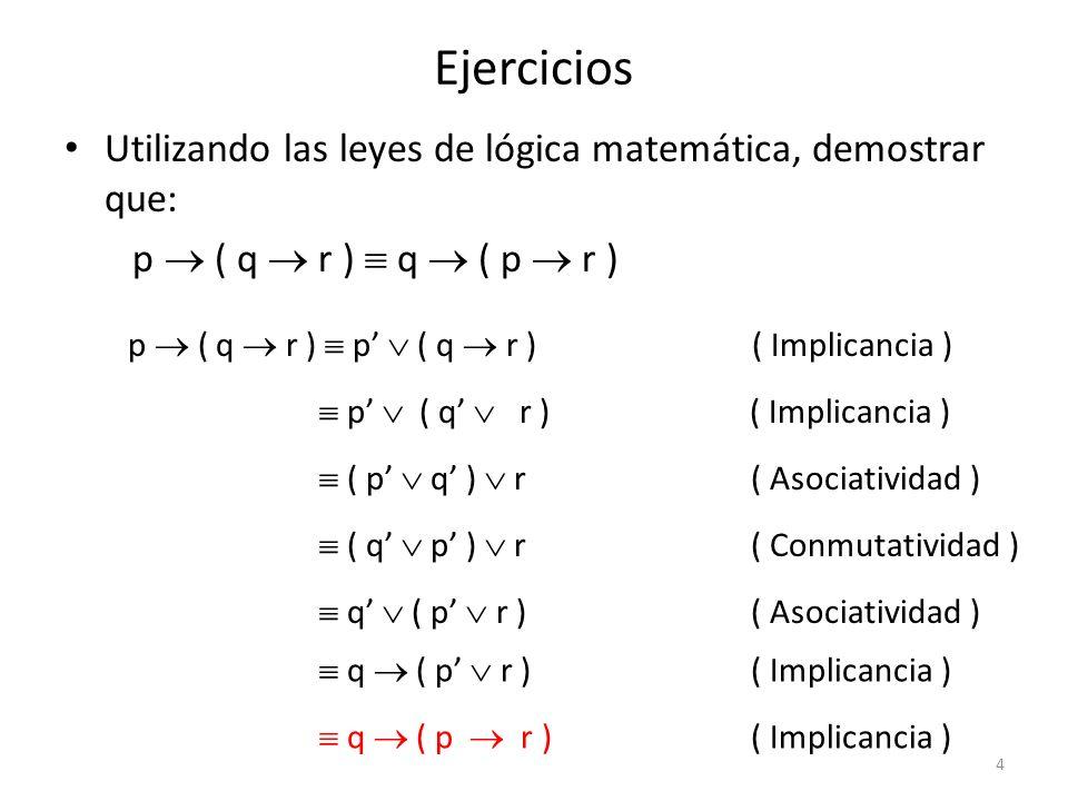 Ejercicios Utilizando las leyes de lógica matemática, demostrar que: p q ( p q ) ( p q ) p q ( p q ) ( q p ) ( Doble Implicancia ) ( p q ) ( q p ) ( Implicancia ) ( p ( q p ) ) ( q ( q p ) )( Distributividad ) ( ( p q ) ( p p ) ) ( ( q q ) ( q p ) ) ( Distributividad ) ( p q ) F ) ( F ( q p ) )( Complemento ) ( p q ) ( q p ) ( Identidad ) ( p q ) ( p q ) ( Conmutatividad )