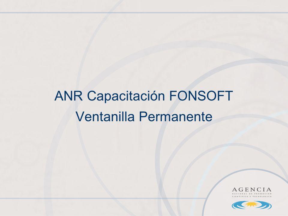ANR Capacitación FONSOFT Ventanilla Permanente