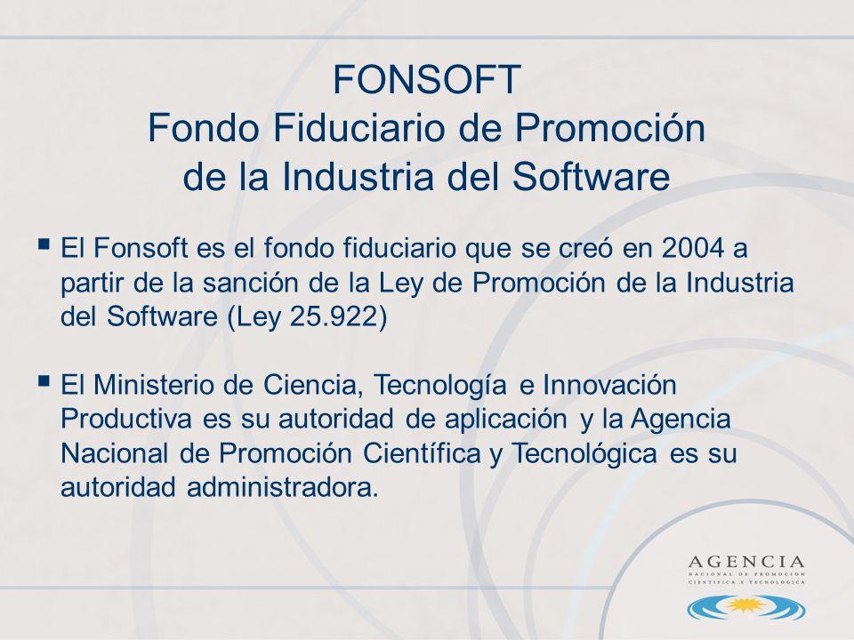 FONSOFT Fondo Fiduciario de Promoción de la Industria del Software El Fonsoft es el fondo fiduciario que se creó en 2004 a partir de la sanción de la Ley de Promoción de la Industria del Software (Ley 25.922) El Ministerio de Ciencia, Tecnología e Innovación Productiva es su autoridad de aplicación y la Agencia Nacional de Promoción Científica y Tecnológica es su autoridad administradora.