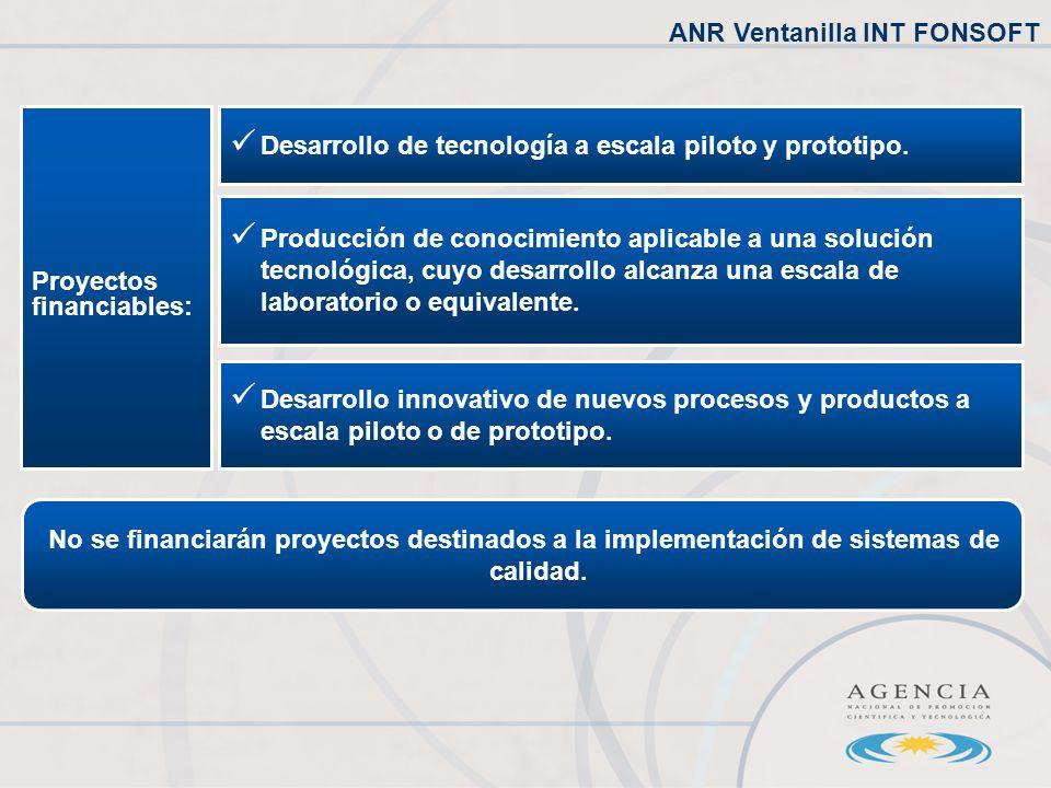 Proyectos financiables: Desarrollo de tecnología a escala piloto y prototipo.