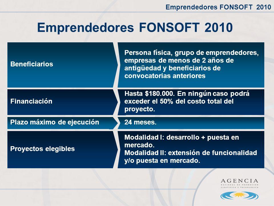 Emprendedores FONSOFT 2010 24 meses.Plazo máximo de ejecución Beneficiarios Persona física, grupo de emprendedores, empresas de menos de 2 años de antigüedad y beneficiarios de convocatorias anteriores Financiación Hasta $180.000.