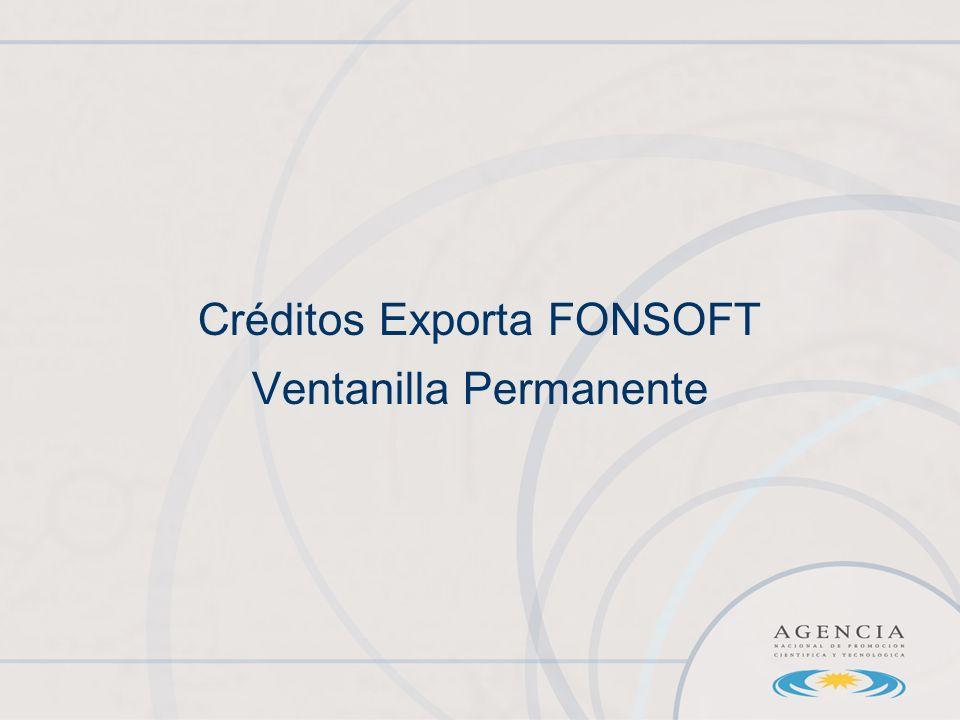 Créditos Exporta FONSOFT Ventanilla Permanente