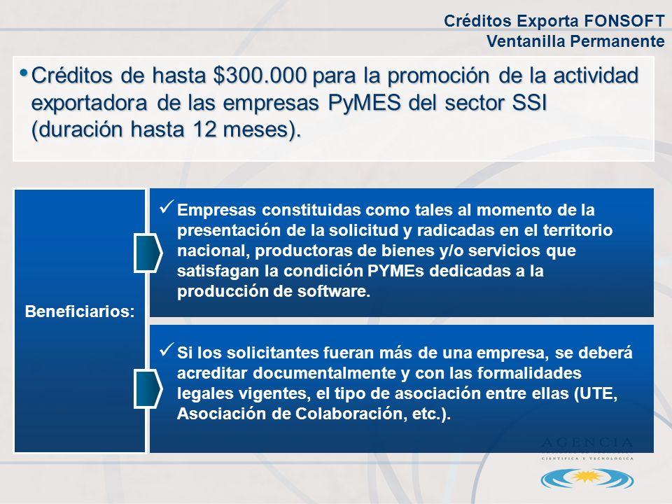 Créditos de hasta $300.000 para la promoción de la actividad exportadora de las empresas PyMES del sector SSI (duración hasta 12 meses).