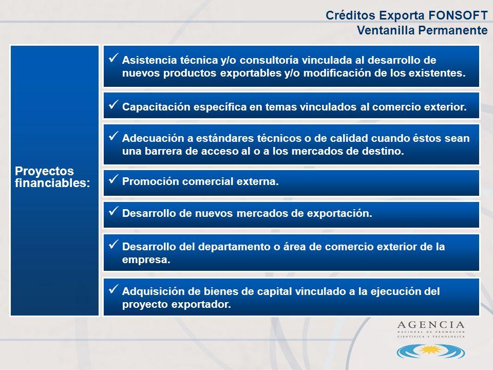 Proyectos financiables: Asistencia técnica y/o consultoría vinculada al desarrollo de nuevos productos exportables y/o modificación de los existentes.