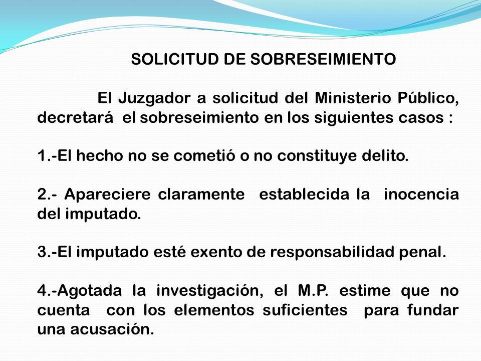 SOLICITUD DE SOBRESEIMIENTO El Juzgador a solicitud del Ministerio Público, decretará el sobreseimiento en los siguientes casos : 1.-El hecho no se co