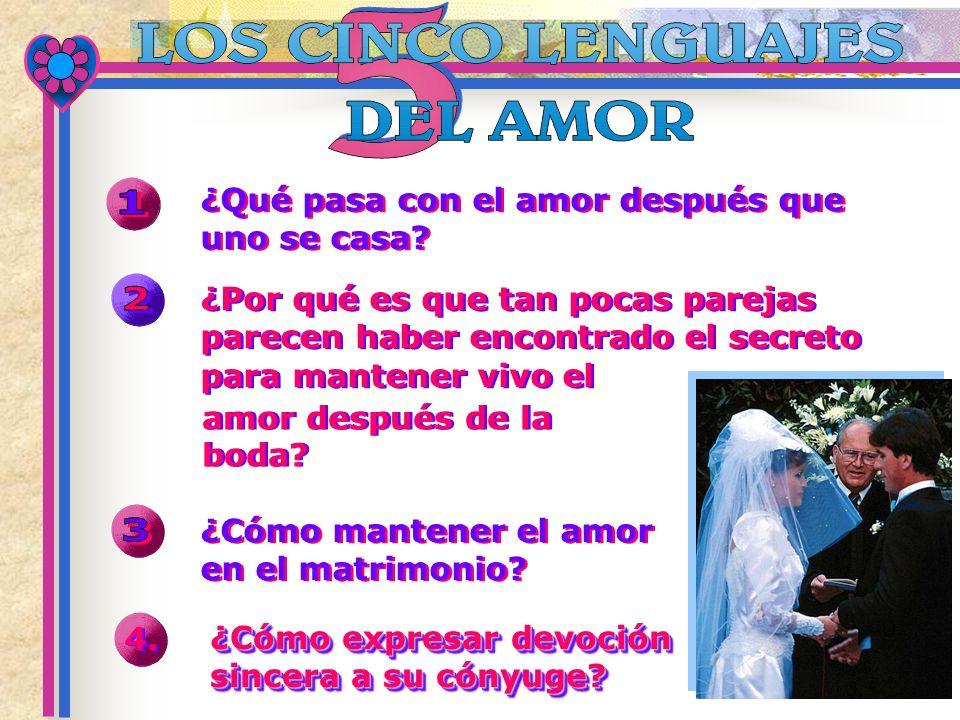 ¿Cómo mantener el amor en el matrimonio? ¿Cómo expresar devoción sincera a su cónyuge? ¿Qué pasa con el amor después que uno se casa? 4. ¿Por qué es q