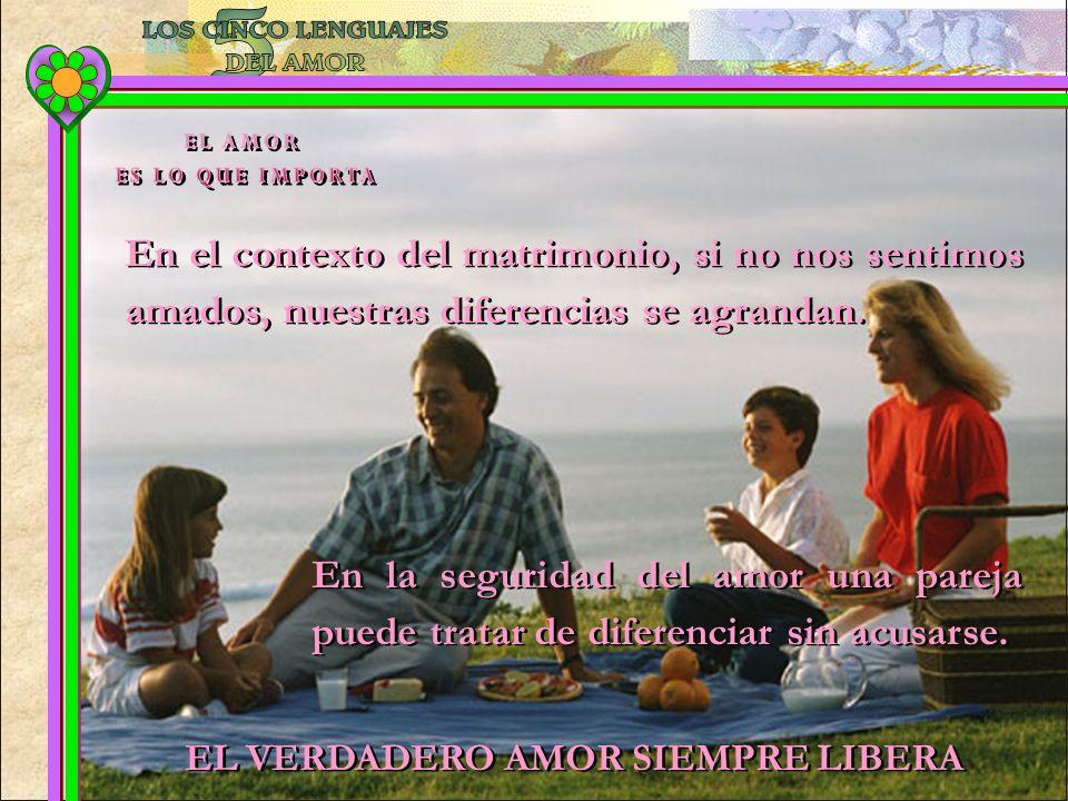 En el contexto del matrimonio, si no nos sentimos amados, nuestras diferencias se agrandan. En la seguridad del amor una pareja puede tratar de difere