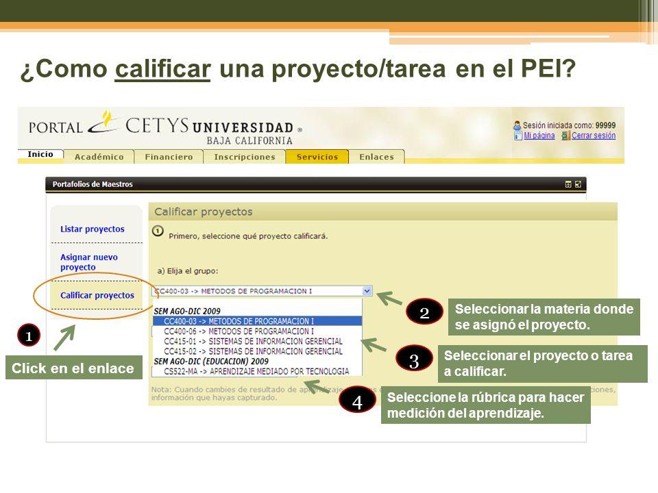 ¿Como calificar una proyecto/tarea en el PEI? Click en el enlace 1 Seleccionar la materia donde se asignó el proyecto. 2 Seleccionar el proyecto o tar