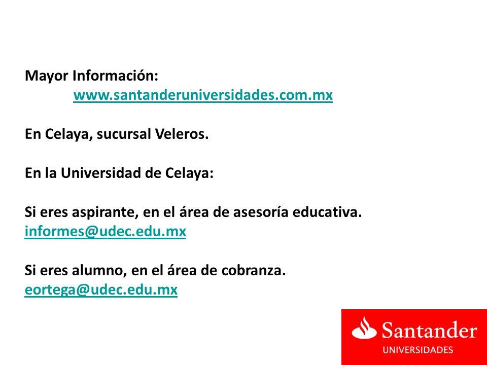 Mayor Información: www.santanderuniversidades.com.mx En Celaya, sucursal Veleros.