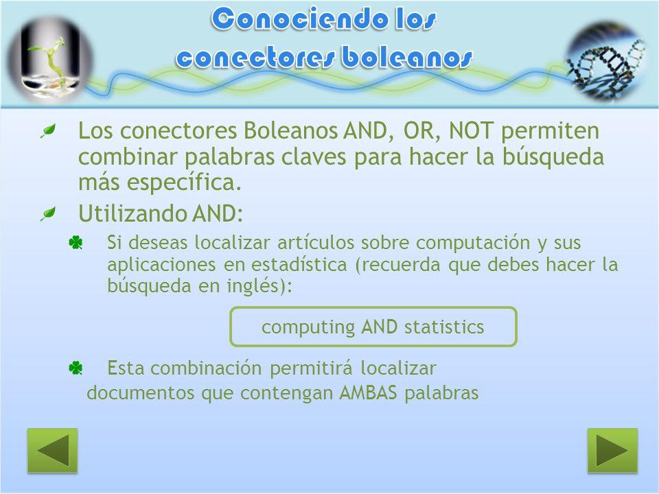 Los conectores Boleanos AND, OR, NOT permiten combinar palabras claves para hacer la búsqueda más específica. Utilizando AND: Si deseas localizar artí