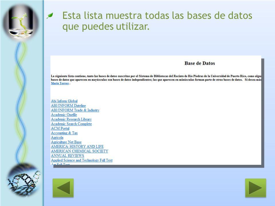 Esta lista muestra todas las bases de datos que puedes utilizar.