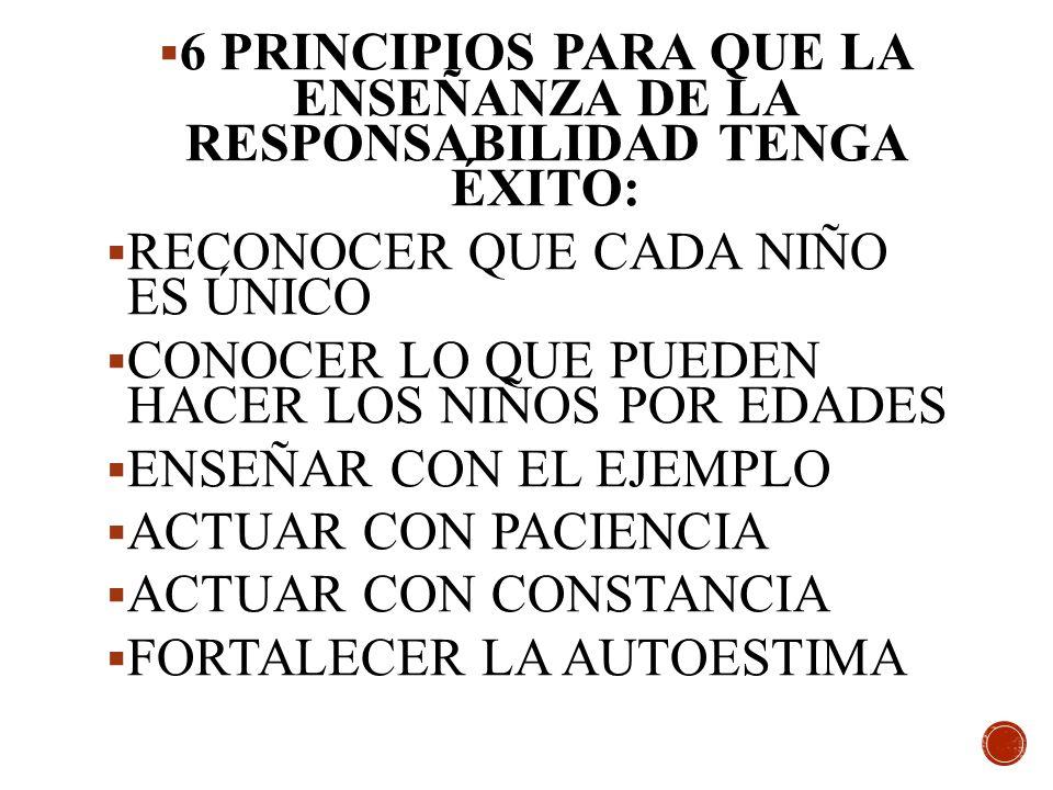 6 PRINCIPIOS PARA QUE LA ENSEÑANZA DE LA RESPONSABILIDAD TENGA ÉXITO: RECONOCER QUE CADA NIÑO ES ÚNICO CONOCER LO QUE PUEDEN HACER LOS NIÑOS POR EDADE