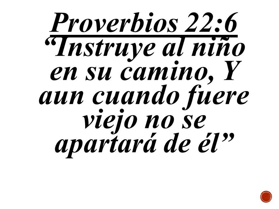 Proverbios 22:6Instruye al niño en su camino, Y aun cuando fuere viejo no se apartará de él