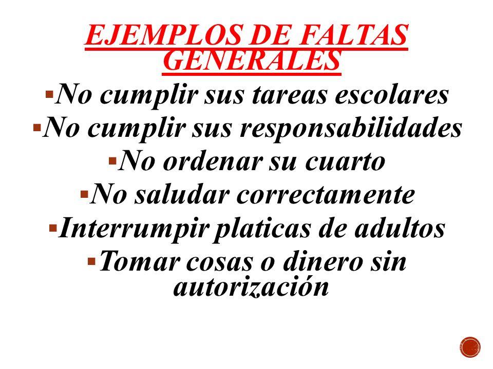 EJEMPLOS DE FALTAS GENERALES No cumplir sus tareas escolares No cumplir sus responsabilidades No ordenar su cuarto No saludar correctamente Interrumpi