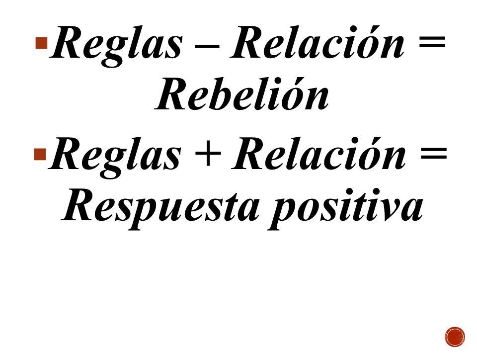 Reglas – Relación = Rebelión Reglas + Relación = Respuesta positiva