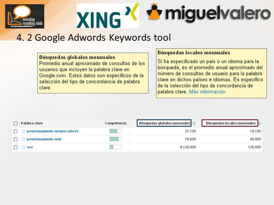 4. 2 Google Adwords Keywords tool