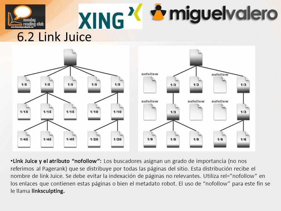 6.2 Link Juice Link Juice y el atributo nofollow: Los buscadores asignan un grado de importancia (no nos referimos al Pagerank) que se distribuye por todas las páginas del sitio.