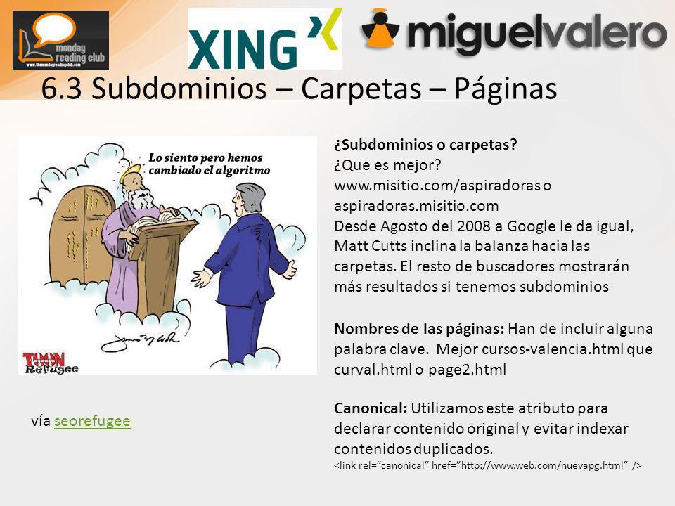 6.3 Subdominios – Carpetas – Páginas ¿Subdominios o carpetas.
