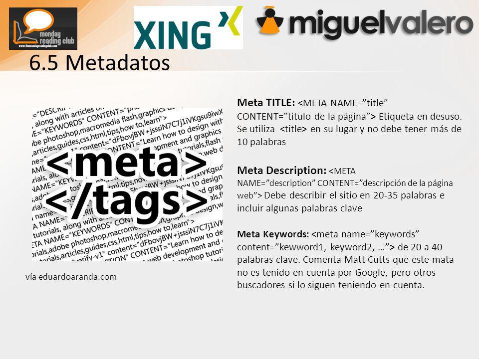 6.5 Metadatos Meta TITLE: Etiqueta en desuso.