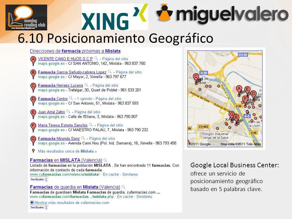 6.10 Posicionamiento Geográfico Google Local Business Center: ofrece un servicio de posicionamiento geográfico basado en 5 palabras clave.