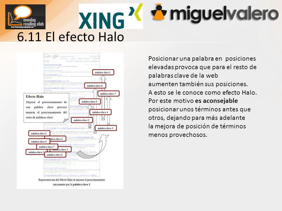 6.11 El efecto Halo Posicionar una palabra en posiciones elevadas provoca que para el resto de palabras clave de la web aumenten también sus posiciones.