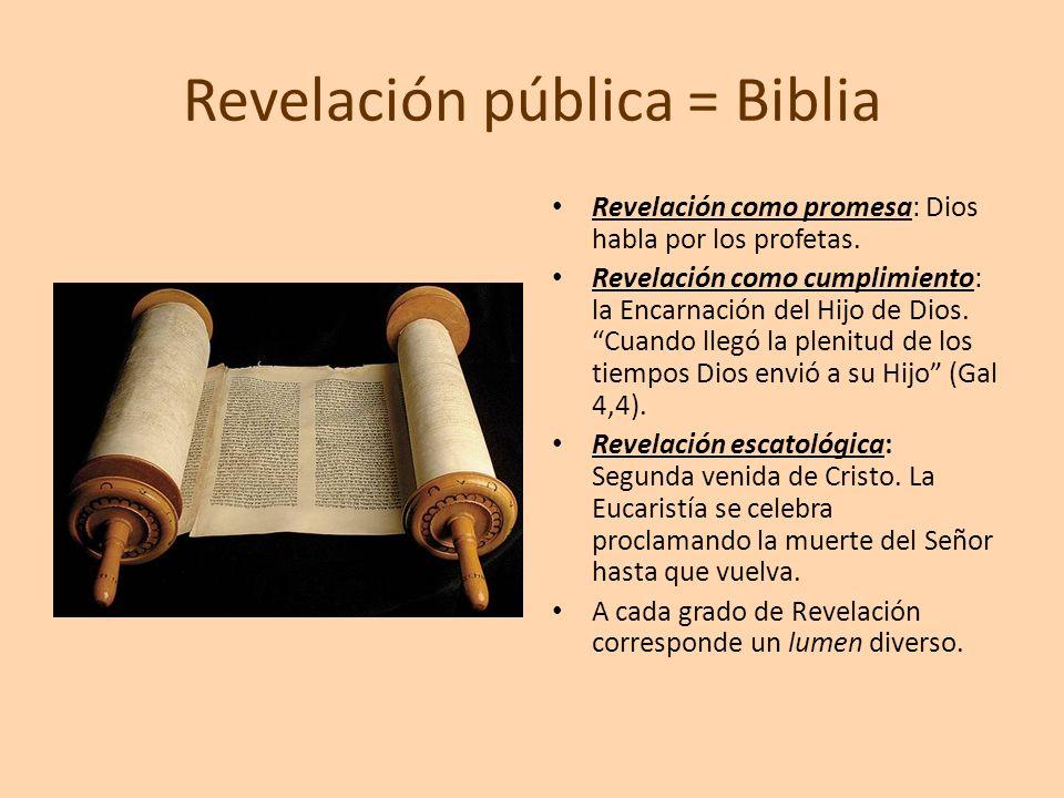 Revelación pública = Biblia Revelación como promesa: Dios habla por los profetas. Revelación como cumplimiento: la Encarnación del Hijo de Dios. Cuand