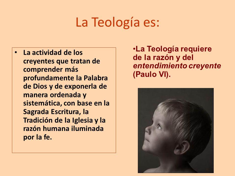 La Teología es: La actividad de los creyentes que tratan de comprender más profundamente la Palabra de Dios y de exponerla de manera ordenada y sistem