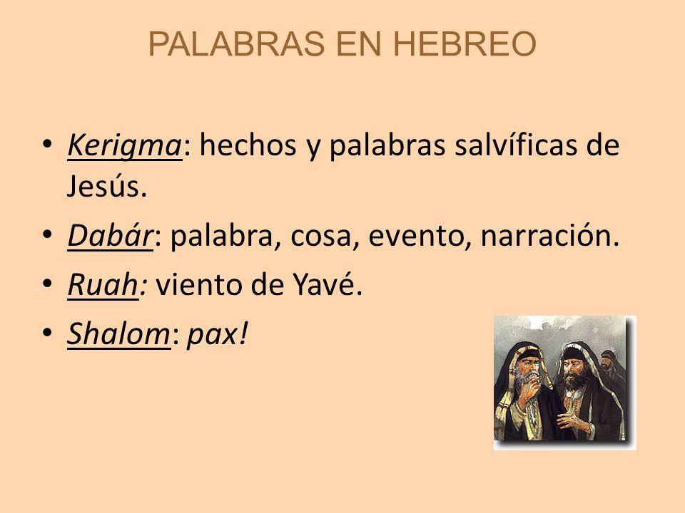 PALABRAS EN HEBREO Kerigma: hechos y palabras salvíficas de Jesús. Dabár: palabra, cosa, evento, narración. Ruah: viento de Yavé. Shalom: pax!