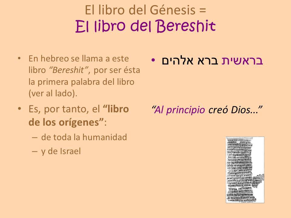 El libro del Génesis = El libro del Bereshit En hebreo se llama a este libro Bereshit, por ser ésta la primera palabra del libro (ver al lado). Es, po