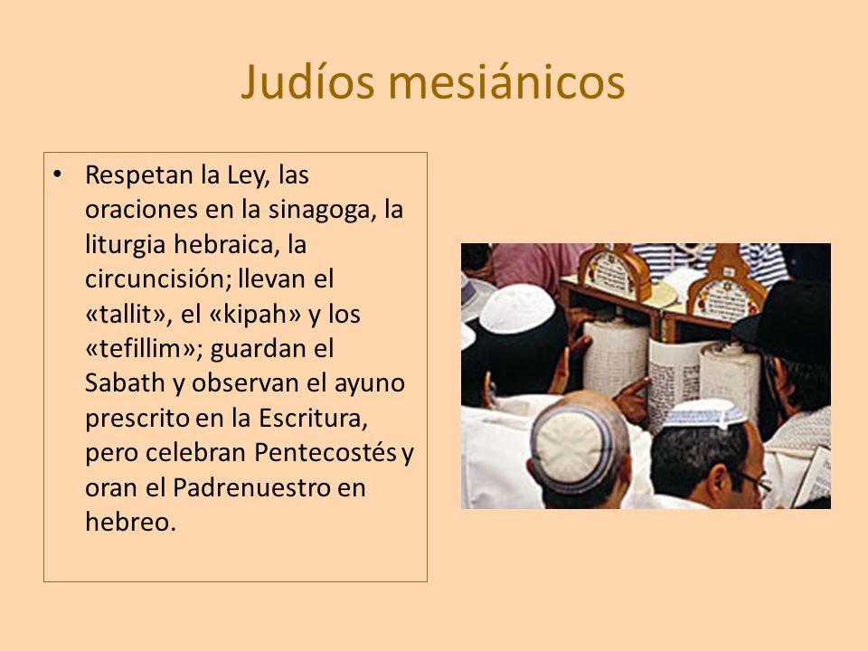 Judíos mesiánicos Respetan la Ley, las oraciones en la sinagoga, la liturgia hebraica, la circuncisión; llevan el «tallit», el «kipah» y los «tefillim