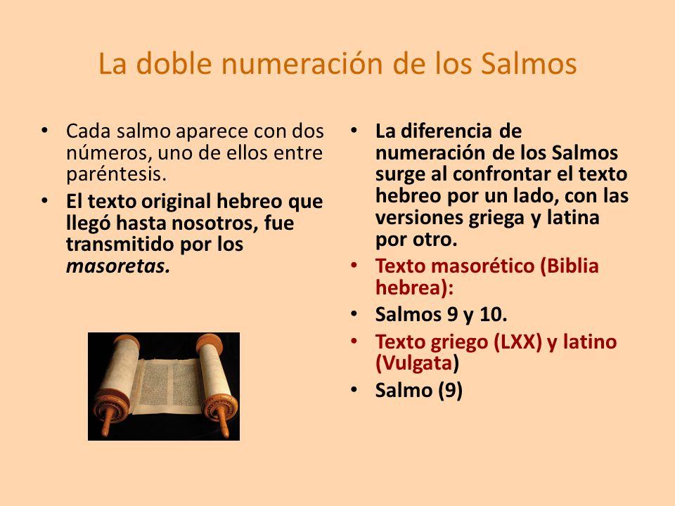 La doble numeración de los Salmos Cada salmo aparece con dos números, uno de ellos entre paréntesis. El texto original hebreo que llegó hasta nosotros