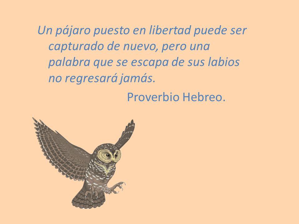 Un pájaro puesto en libertad puede ser capturado de nuevo, pero una palabra que se escapa de sus labios no regresará jamás. Proverbio Hebreo.