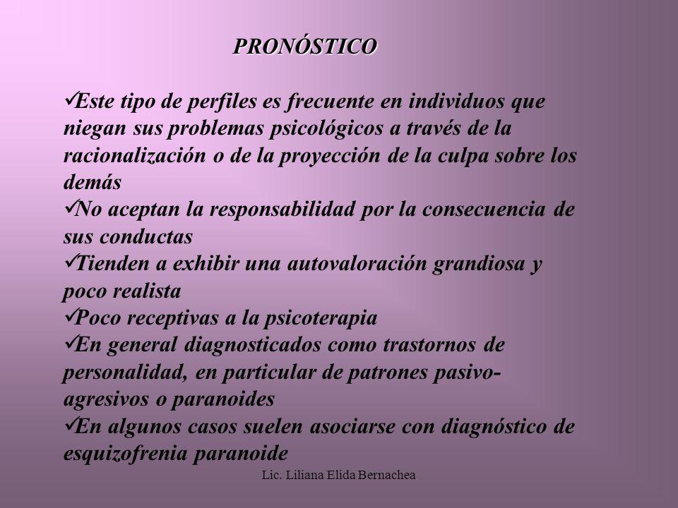 Lic. Liliana Elida Bernachea PRONÓSTICO Este tipo de perfiles es frecuente en individuos que niegan sus problemas psicológicos a través de la racional