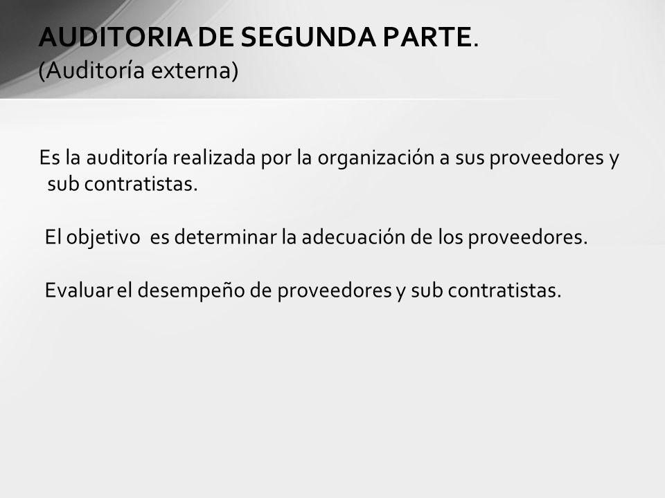 Es la auditoría realizada por la organización a sus proveedores y sub contratistas. El objetivo es determinar la adecuación de los proveedores. Evalua