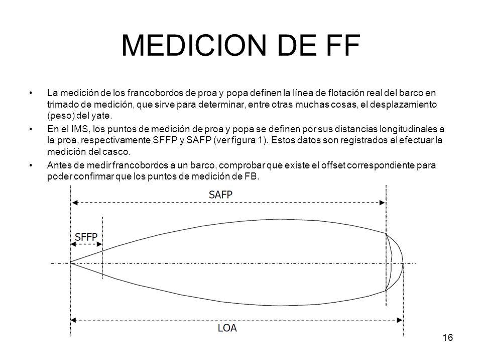 16 MEDICION DE FF La medición de los francobordos de proa y popa definen la línea de flotación real del barco en trimado de medición, que sirve para d